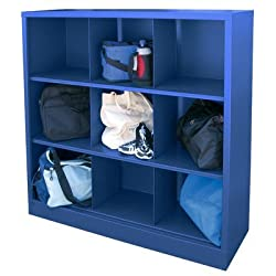 """Sandusky Lee Ic00461852-06 Heavy Duty Welded All Steel Cubby Storage Cabinet With 9 Sections, 46"""" Length X 18"""" Width X 52"""" Height, Blue"""