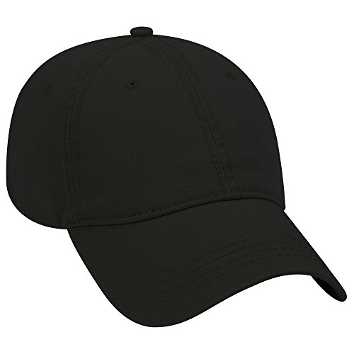 - OTTO Garment Washed Superior Cotton Twill 6 Panel Low Profile Dad Hat - Black