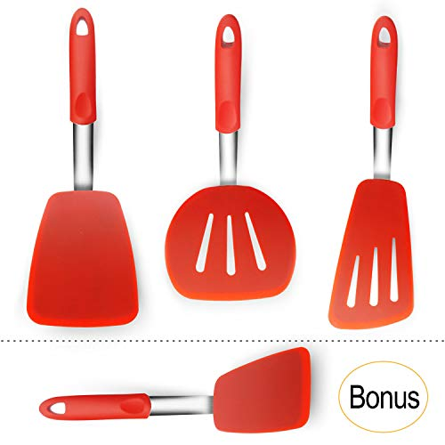 Spatula Set for Nonstick Cookware, Spatulas Silicone Heat Resistant BPA Free & FDA Approved, Regular Spatula Set, Wide Spatulas Slotted Silicone, Large Spatula, Long Slotted Egg Turner Spatula