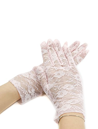 UPC 602451017745, uxcell Lady Floral Lace Wrist Length Full Finger Gloves Pair Pink