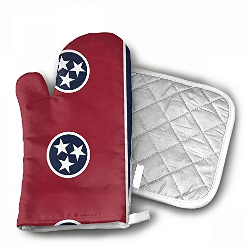 Tennessee State Flag Microwave Glove Thicken Insulation Pads Kitchen Cotton Oven Mitts Heat Resistant Oven Mitts with Disk Pad for Kitchen Cooking Baking