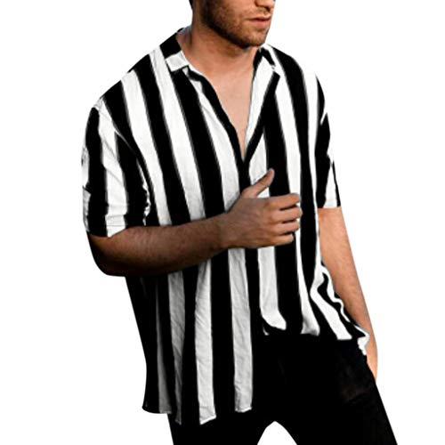 Serzul Standing Collar Stripe Shirts for Men,Summer Charming Fashion Baggy Button Retro Tops Beach Hawaiian Blouse M-3XL Black (Charming Stripe Collar)