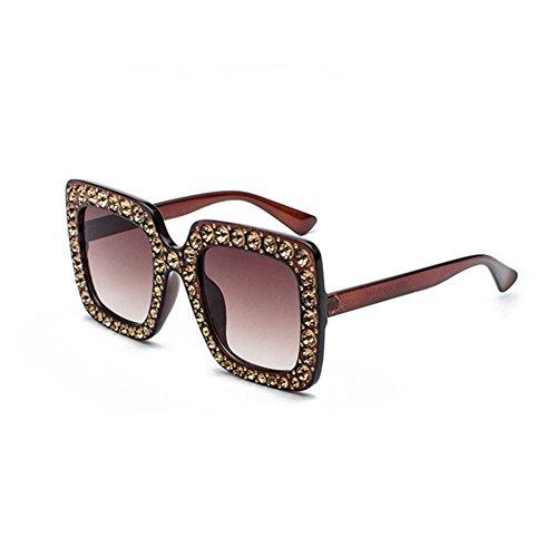 Aoligei L'Europe et les lunettes de soleil métalliques mode États-Unis diamant cadre décoratif femme marée actuelle lunettes de soleil Miroir plat Cy7E3u6sXr