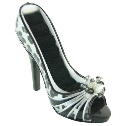 Metallic Leopard Peep Toe Shoe Ring Holder - 4W x 5H in.