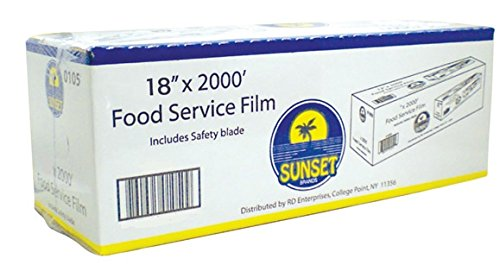 Food Service Film 18 Inch x 2000 Feet With Safety Blade to Cut Plastic Film by Sunset Brands