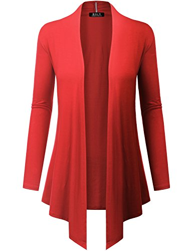 Because I Love You Women's Open Front Drape Hem Lightweight Cardigan - X-Large - Coral ()