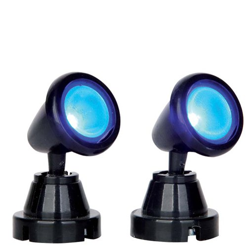 Lemax Village Collection Round Spot Light Blue Set of 2 Battery Operated # 54945