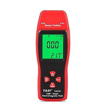 TA8191 Mini LCD digital Detector de radiación de campo electromagnético Medidor de EMF de mano Dosímetro Gauss Probador Eje único - Rojo y gris: Amazon.es: ...