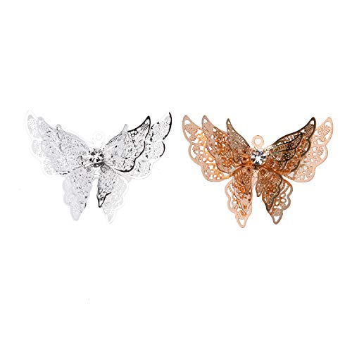 Monrocco 10pcs Butterfly Charms Pendants Rhinestone Hollow-Out Butterfly Charms Pendant Charm Beads for DIY Necklace Bracelet Craft Jewelry -
