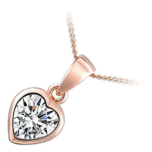 Classic Triple Heart (GWG 18K Rose Gold Plated Heart Shaped Sparkling AAA Clear CZ Crystal Classic Pendant Necklace for Women)