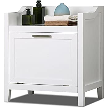 Amazon.com: HomCom Wooden Bathroom Laundry Hamper Cabinet - White ...