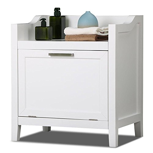 go2buy Floor Standing White Wood Bathroom Storage Cabinet Organizer Cupboard with Pull Down Door (Tilt Storage)