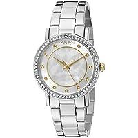Akribos XXIV AK880 redondo para mujer Madre de perla Mosaico Reloj de pulsera de cuarzo de tres manos (Plata)