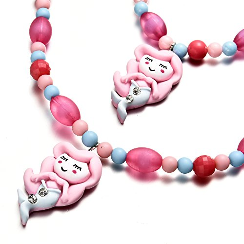 Sirena Colgante Pulsera de perlas de collar de niñas