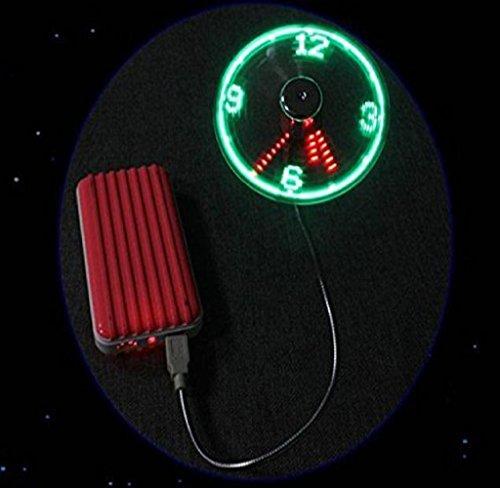 RukiwaMini USB Powered LED Cooling Flashing Real Time Display Function Clock Fan