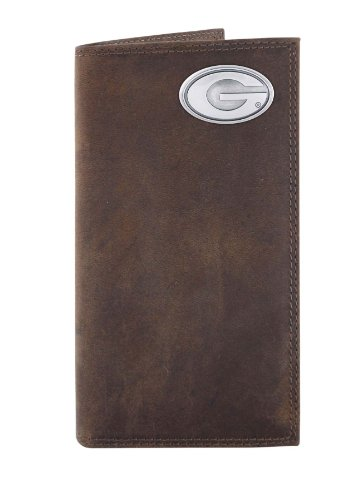 NCAA Georgia Bulldogs Light Brown Crazyhorse Leather Roper Concho Wallet, One Size ()