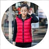Vest Women Winter Large Size Both Sides wear Hooded Jacket Thicken Warm Vest 4XL Female Gilet Femme,Red,XXL