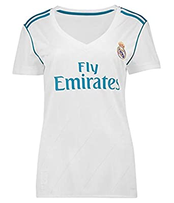 VChoe 2017-2018 Real Madrid Home Womens Soccer White Jersey M
