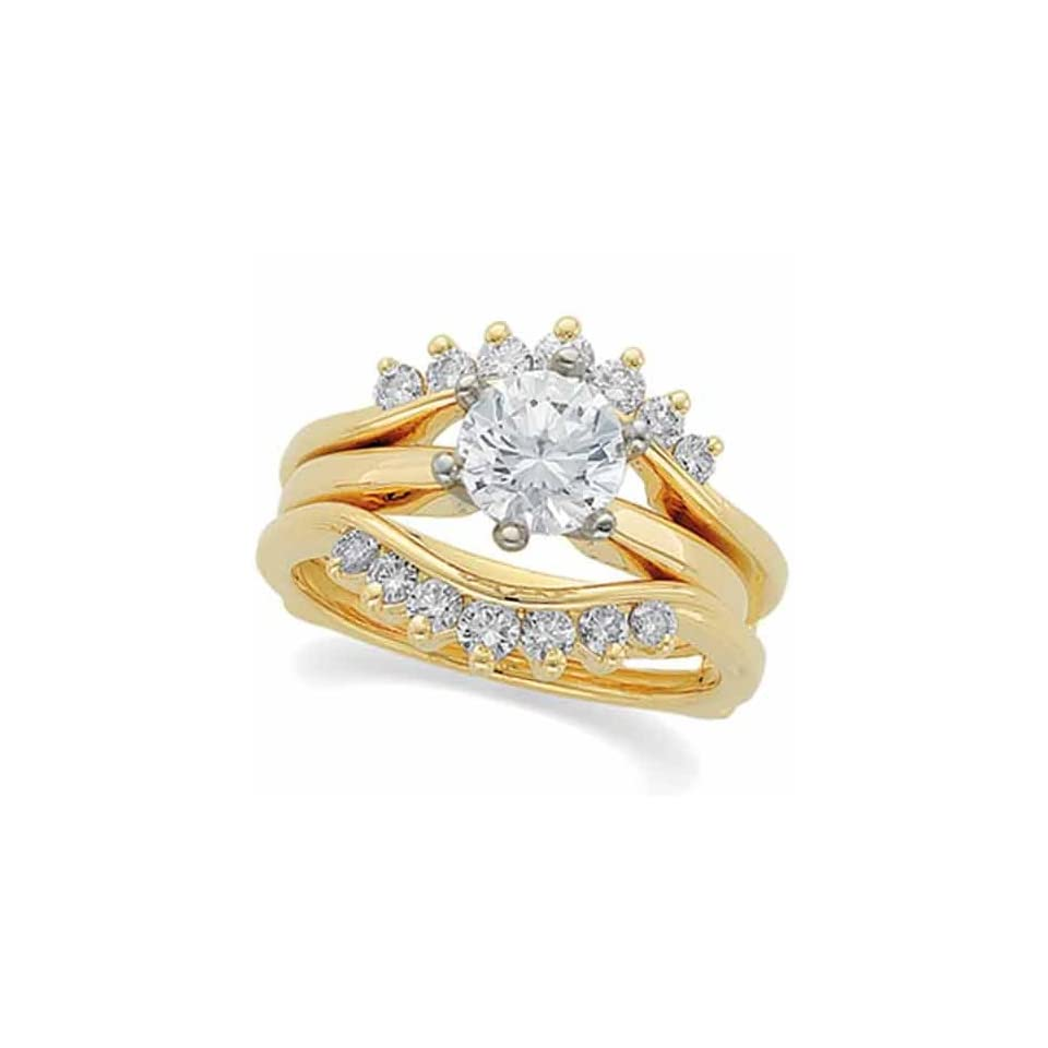 0.50 Ct.T.W. Round Brilliant Cut Diamonds, 14Kt. Yellow Gold. Diamond Ring Guard Enhancer (Center ring is NOT INCLUDED)