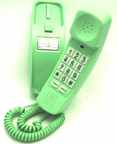 Trimline Phone – Earth Day Green – Durable Retro Novelty Telephone – An Improved Version of the Princess Phones in 1965 – Replica Retro Styling Big Button Phones For Seniors – 30 Day Money Back Guarantee – 3 Year Warranty – Desk or Wall Mountable – Unique Landline Corded Telephone for Office or Home – New Earth Day Green – iSoHo Phones, Office Central