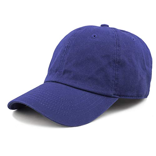 The Hat Depot Unisex Blank Washed Low Profile Cotton and Denim Baseball Cap Hat (Royal Blue)