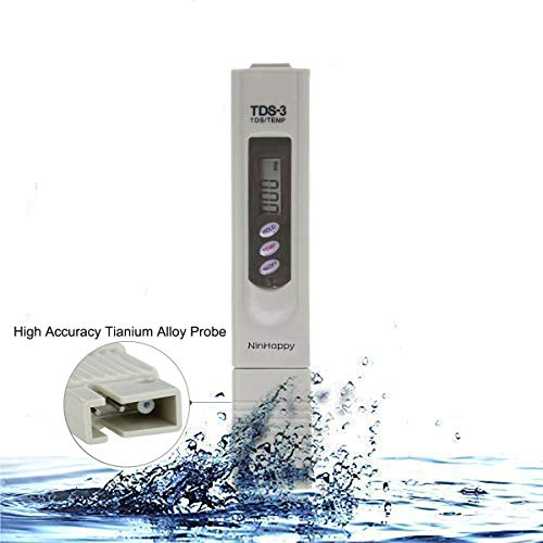 【2019 Latest】TDS Meter,NinHappy Water Quality Tester,0-9999ppm Meter,LCD Display,Accuracy Testing Water Meter for Drinking Water, Aquariums,RO System,Swinging Pool and More