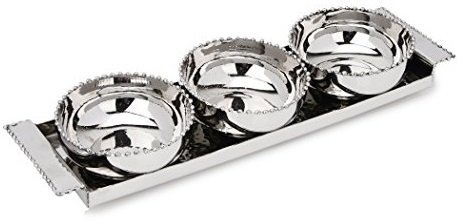 Pizzazz Stainless Beaded 3 Bowl Relish Condiment Appetizer