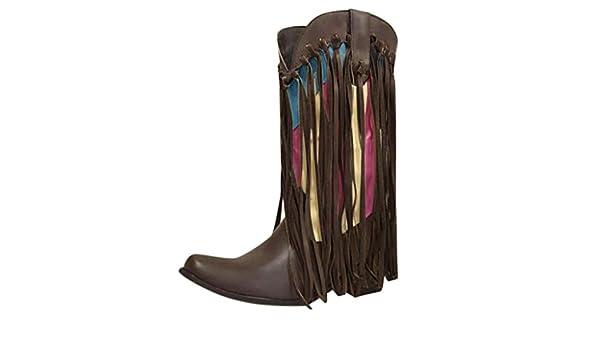 Posional Botas De Mujer Retro Navidad Boots Tooling Para Mujer British Student Casual Bota TacóN Alto Con Punta Serpiente Moda Zapatos Bajo Borla Mezcla Color Caballero Occidental: Amazon.es: Ropa y accesorios