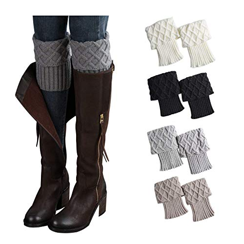 Bestjybt Womens Short Boots Socks Crochet Knitted Boot Cuffs Leg Warmers Socks (4 Pairs-Style -