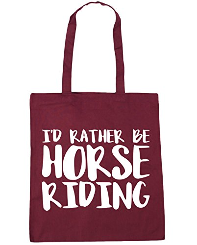 litres Bag Gym 42cm x38cm 10 Beach Shopping Tote Burgundy Horse HippoWarehouse Riding I'd Rather Be xCqO1Fpw