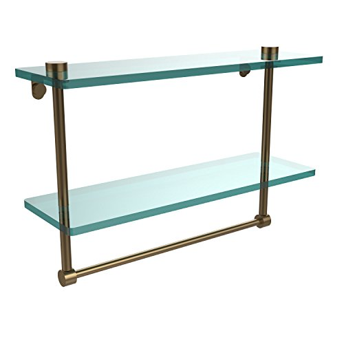 Review Allied Brass NS-2/16TB-BBR 16-Inch Double Glass Shelf with Towel Bar By Allied Brass by Allied Brass