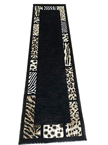 Skinz Animal Skin Leopard Tiger Zebra Border Print Runner Area Rug Black Brown Beige Design 73 (2 Feet X 7 Feet)