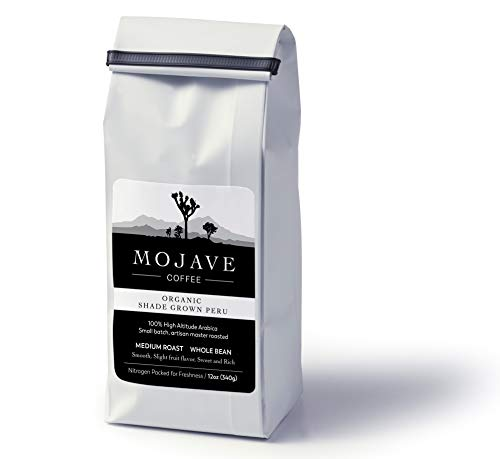 Mojave Coffee USDA Organic Shade-Grown Peru, Single-Origin, Small-Batch, Fresh Roasted, 100% High-Altitude Premium Arabica, Medium Roast 12oz (Whole Bean)