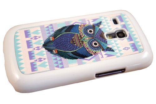 White Frame aztec geometric owl whimsical designer Samsung Galaxy S3 Mini i8190 Case Back cover-Hard Plastic and Metal