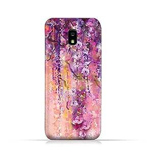 AMC Design Samsung Galaxy J7 2018 TPU Silicone Protective Case with Artistic Purple Flowers Design