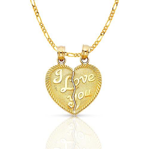 Ioka Jewelry - 14K Yellow Gold ''I Love You'' Couple Broken Heart Charm Pendant with 2.3mm Figaro 3+1 Chain - 18'' by Ioka Jewelry
