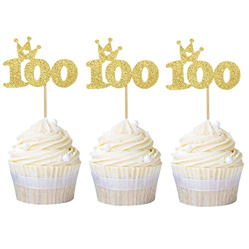 Newqueen 24 Pack Number 100 Cupcake Toppers Gold Glitter 100th Cupcake Picks Birthday Party Cake Decoration Supplies