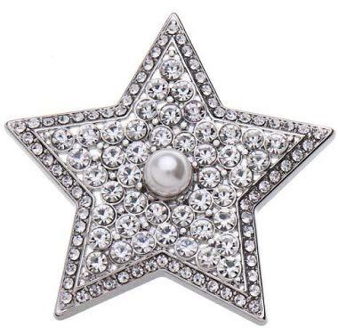Treend24 Damen Magnet Brosche Stern Perle Silber Schal Clip Bekleidung Magnetbrosche Poncho Taschen Stifel Textilschmuck Eule Herz stern