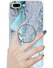 """Nadoli Marble Case for iPhone 8 Plus 5.5"""",Premium Smooth Flexible Soft Colorful Marble Pattern Ultra Slim Rubber Silicone Case Cover with Support Stand for iPhone 8 Plus/7 Plus 5.5"""""""