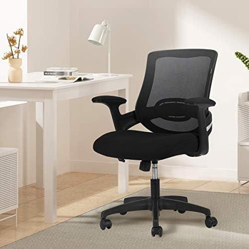 Hbada Chaise de Bureau Ergonomique avec Support Lombaire, Siège de Bureau en Maille, Fauteuil avec Accoudoir et Hauteur Réglable, Noir