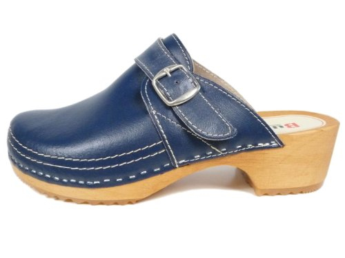 Ladies Leather/Wooden Clogs with Double Stitching and Buckle Design Denim Blue jbmdyqeZe