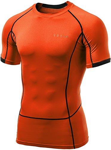 Tesla TM-MUB13-ORG_Medium Men's Short Sleeve T-Shirt Cool Dry Compression Baselayer MUB13