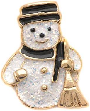 ドイツ製 クリスマスピンブローチ ほうきを持ったスノーマン BIJOU-COLLECTION