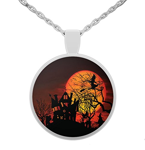 (Vitazi Designs Hallows Eve Jewelry \ Halloween Image \ 22 Inch Silver Plated Necklace and 1 Inch Round Pendant Haunted House, Witch, Graveyard, Fire Red Moon)