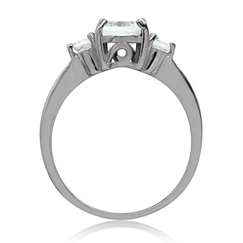 Silvershake 1.91ct. Genuine White Topaz Gold Plated 925 Sterling Silver Engagement Ring