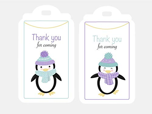 Penguin Thank You Tags 12Pcs. Arctic Party Favors, Baby Shower Winter Wonderland Birthday, Decoration Supplies ()
