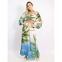 Vestido Longo Ombro A Ombro Estampa Palm Tree