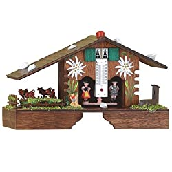 German Black Forest weather house with turning cows, incl. battery TU 900 E