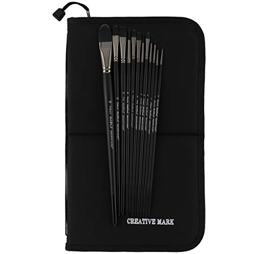 Creative Mark Black Swan Paint Brush Set Synthetic Red Sable Brushes for Acrylics, Oils, Glazings & Heavy Body Media - [Value Set of 12 Assorted Brushes w/Brush Easel Case]