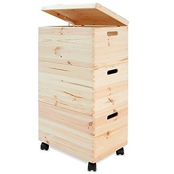 Schön 3er Set Aufbewahrungsbox auf Rollen mit Deckel Holz Stapelkiste  ZB14